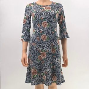 Gilli Cheetah animal Floral Print Dress